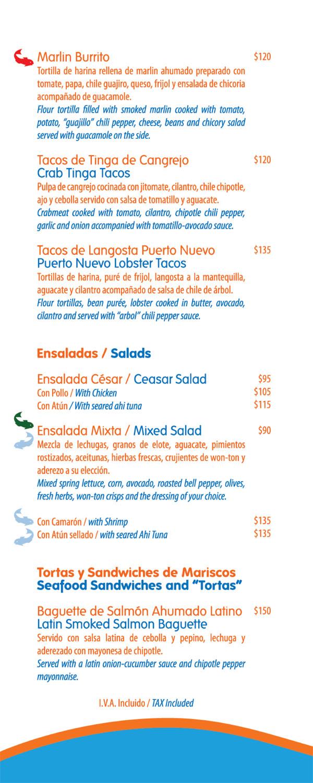 Fish menu for The fish house menu