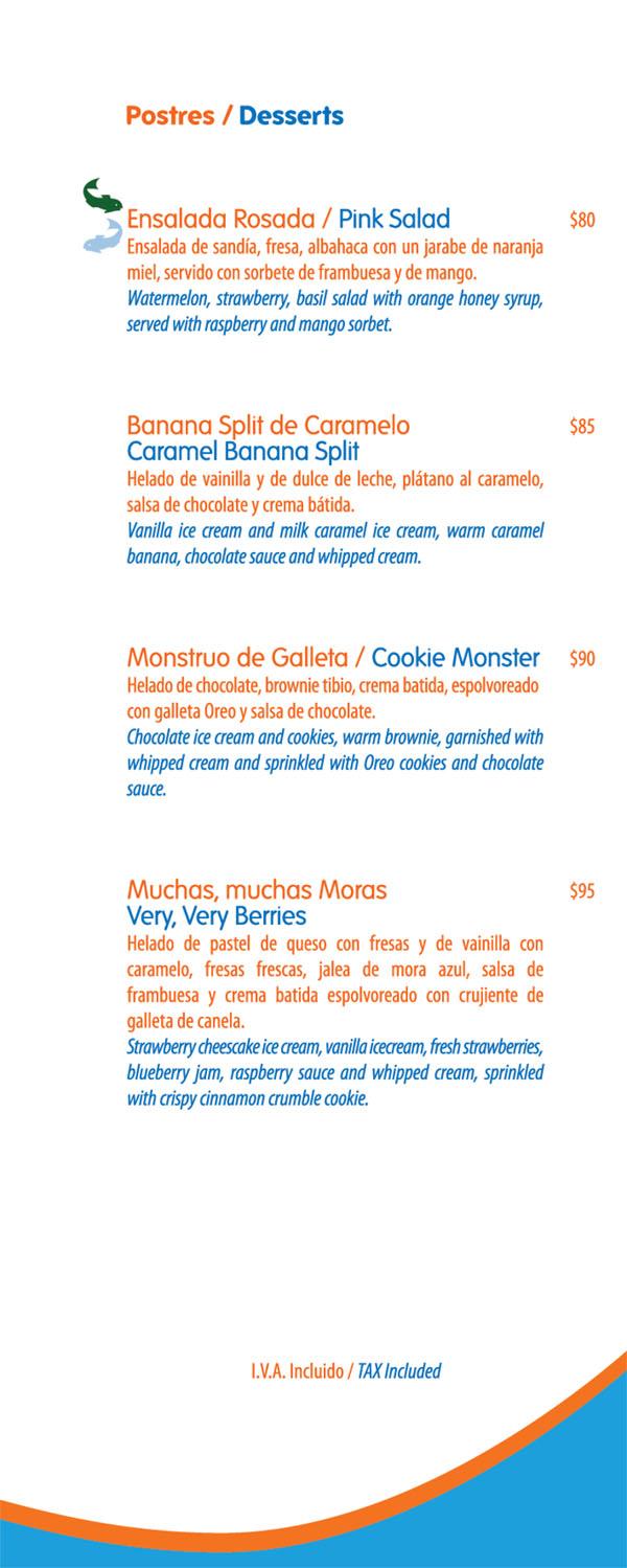 Blue fish menu for Prime fish menu