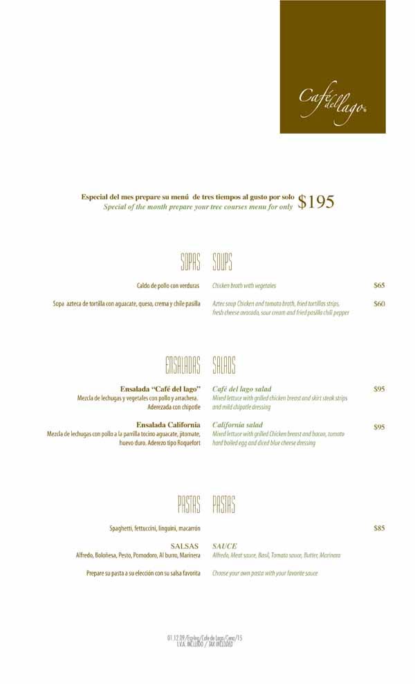Cafe Del Lago RM Menu 1