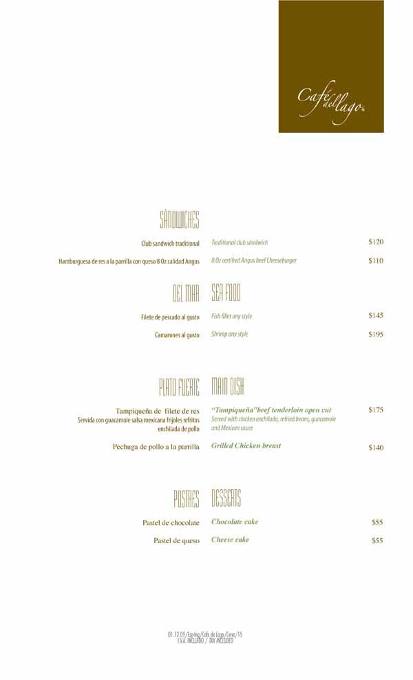 Cafe Del Lago RM Menu 2