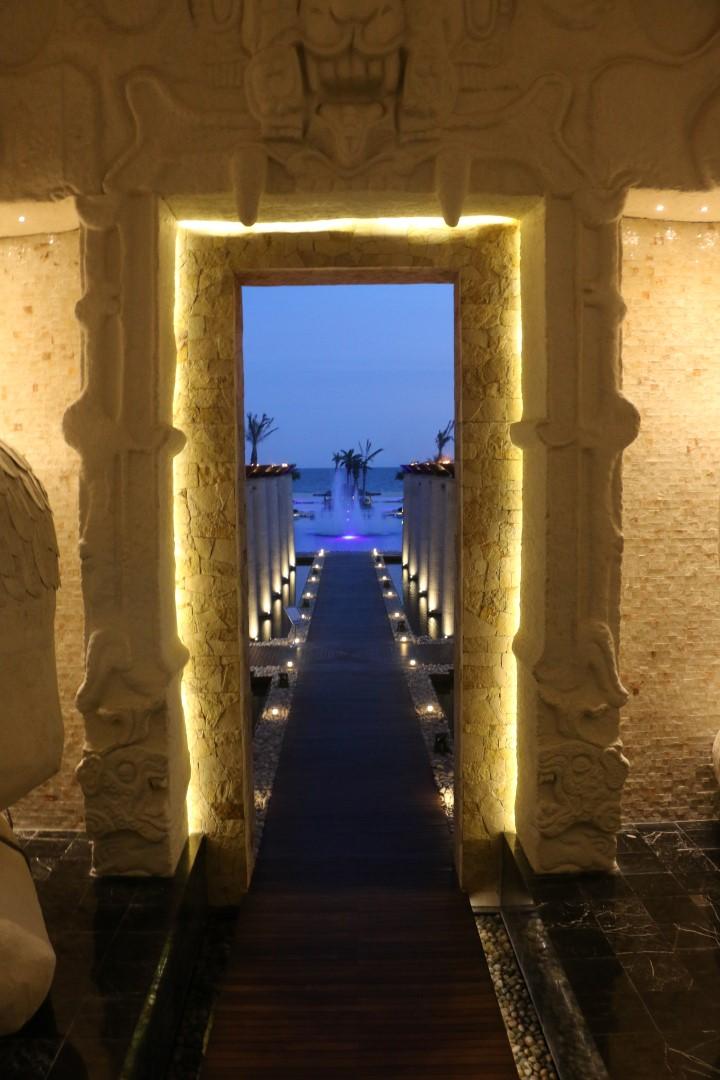 vidanta los cabos pool entrance with torches