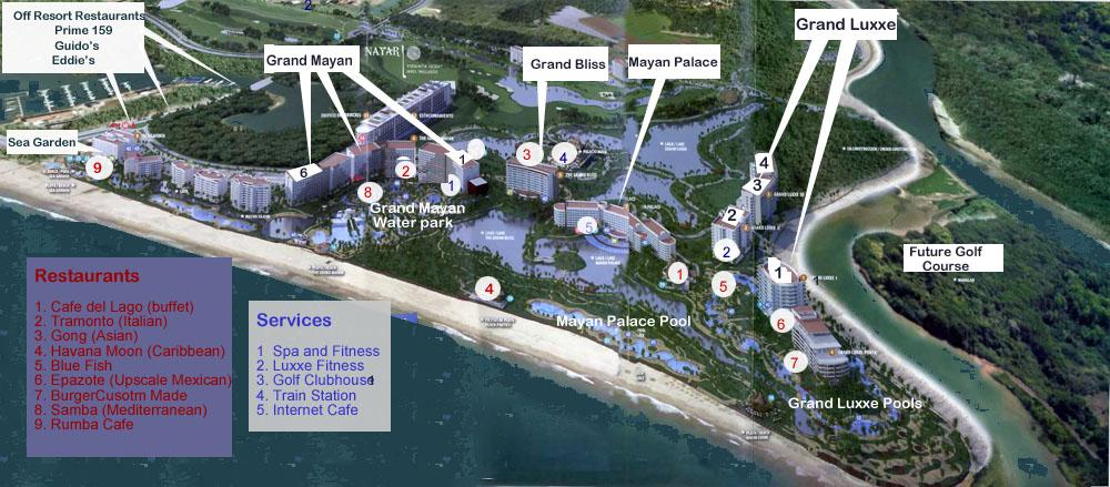 Resort Map of the Grand Mayan Resort in Nuevo Vallarta